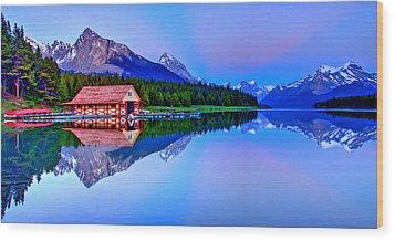 Spiritual Lake Wood Print by Scott Mahon