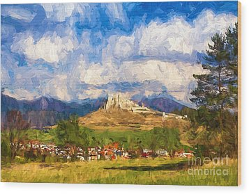 Castle Above The Village Wood Print by Les Palenik
