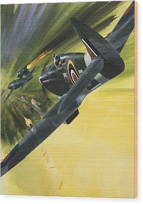 Spitfire And Doodle Bug Wood Print by Wilf Hardy