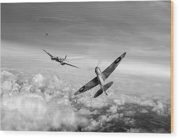 Wood Print featuring the photograph Spitfire Attacking Heinkel Bomber Black And White Version by Gary Eason