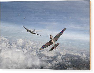 Wood Print featuring the photograph Spitfire Attacking Heinkel Bomber by Gary Eason