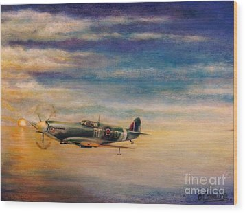 Spitfire In Flight Wood Print by Liam O Conaire