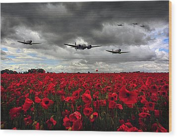 Spitfires And Blenheim Wood Print