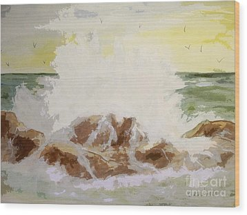 Wood Print featuring the painting Splash by Carol Grimes