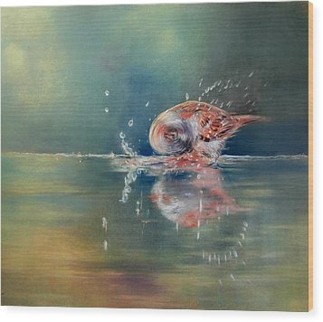 Wood Print featuring the painting Splash by Ceci Watson