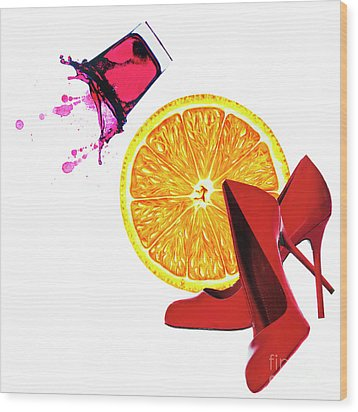 Wood Print featuring the mixed media Splash Of Red by Elena Nosyreva