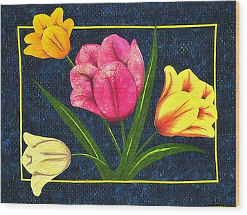 Wood Print featuring the tapestry - textile Splash Of Tulips by Jo Baner