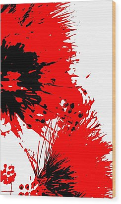 Splatter Black White And Red Series Wood Print