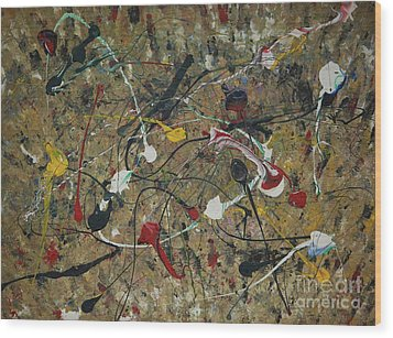 Wood Print featuring the painting Splattered by Jacqueline Athmann
