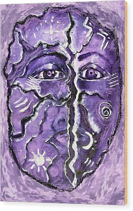 Wood Print featuring the painting Split A Mask by Shelley Bain