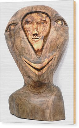 Split Personality. Olive Wood Sculpture Wood Print by Eric Kempson
