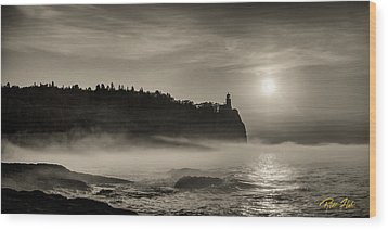 Split Rock Lighthouse Emerging Fog Wood Print by Rikk Flohr