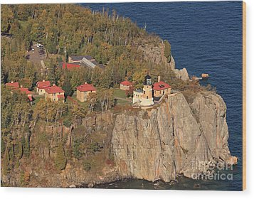 Split Rock Lighthouse Fall Aerial View Wood Print by Tammy Wolfe