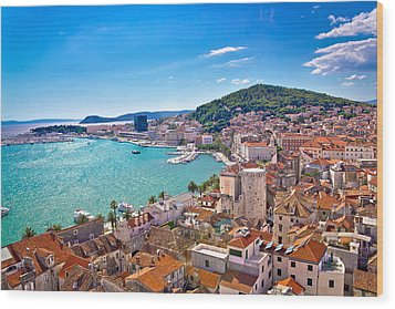 Split Waterfront And Marjan Hill View Wood Print by Brch Photography
