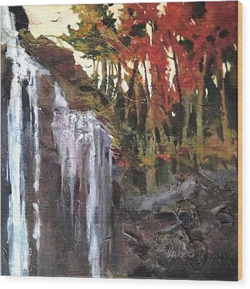 Wood Print featuring the painting Splitrock Falls by Helen Harris