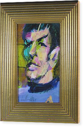 Spock Wood Print by Les Leffingwell
