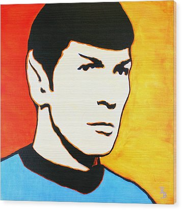 Wood Print featuring the painting Spock Vulcan Star Trek Pop Art by Bob Baker