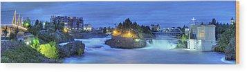 Spokane Falls Wood Print by Michael Gass