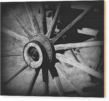 Spoked Wheel Wood Print by Perry Webster