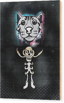 Spooky Cat Hologram Wood Print by Steven Silverwood