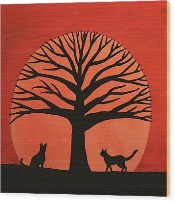 Spooky Cat Tree Wood Print