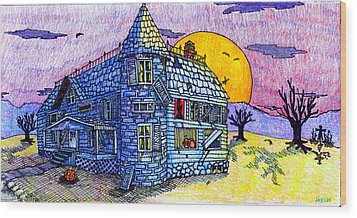 Spooky House Wood Print