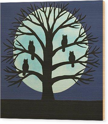 Spooky Owl Tree Wood Print