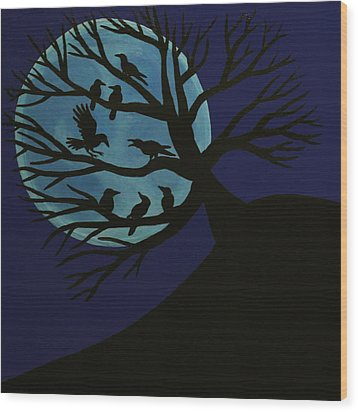 Spooky Raven Tree Wood Print