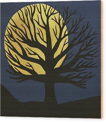Spooky Tree Yellow Wood Print