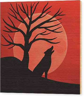 Spooky Wolf Tree Wood Print