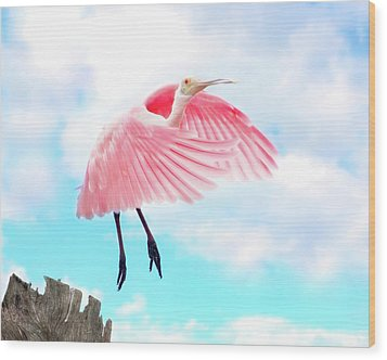 Spoonbill Launch Wood Print