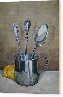 Spoons Lemons And A Baby Cup Wood Print by Amy Higgins