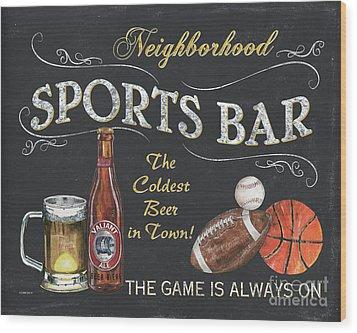 Sports Bar Wood Print by Debbie DeWitt
