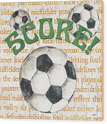 Sports Fan Soccer Wood Print by Debbie DeWitt