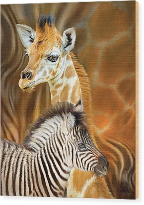 Wood Print featuring the mixed media Spots And Stripes - Giraffe And Zebra by Carol Cavalaris