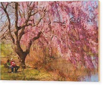 Spring - Sakura - A Beautiful Spring Day  Wood Print by Mike Savad