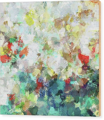 Wood Print featuring the painting Spring Abstract Art / Vivid Colors by Ayse Deniz