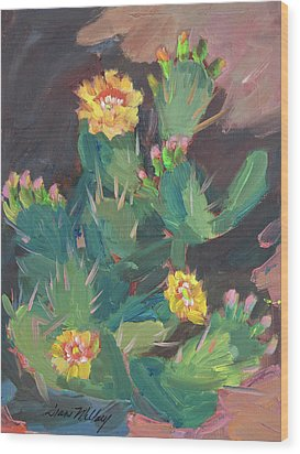 Wood Print featuring the painting Spring And Prickly Burst Cactus by Diane McClary