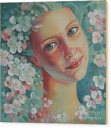 Wood Print featuring the painting Spring B by Elena Oleniuc