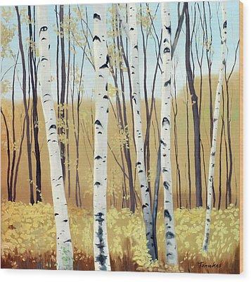 Spring Birches Wood Print