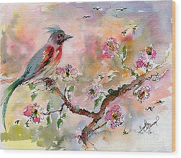 Wood Print featuring the painting Spring Bird Fantasy Watercolor  by Ginette Callaway