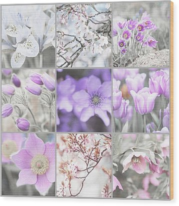 Wood Print featuring the photograph Spring Bloom Collage. Shabby Chic Collection by Jenny Rainbow