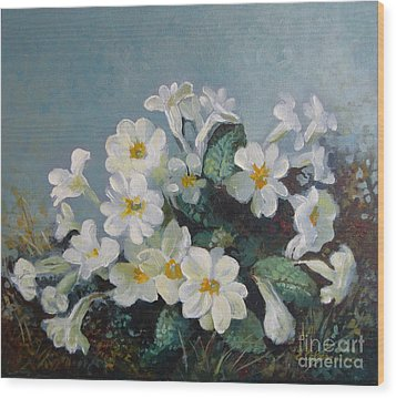 Wood Print featuring the painting Spring Blooms by Elena Oleniuc