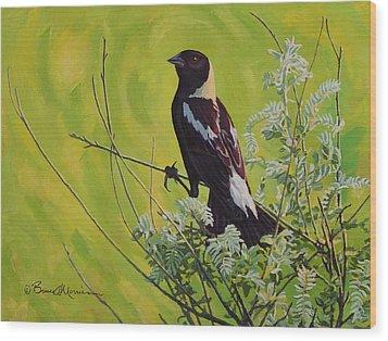 Spring Bobolink Wood Print by Bruce Morrison