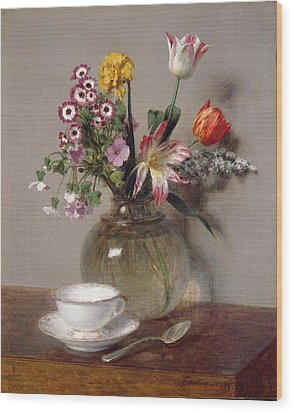 Spring Bouquet Wood Print by Ignace Henri Jean Fantin-Latour
