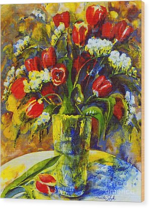 Wood Print featuring the painting Spring Bouquet by Marta Styk