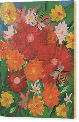Spring Bumble Bees Wood Print