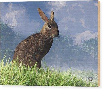 Wood Print featuring the digital art Spring Bunny by Daniel Eskridge