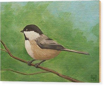 Spring Chickadee Wood Print by Lisa Kretchman