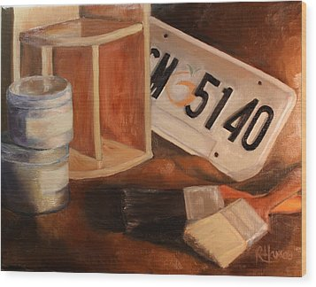 Wood Print featuring the painting Spring Cleaning by Rachel Hames